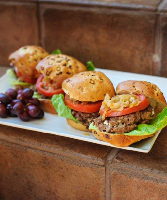Blue Cheese & Onion Stuffed Burgers