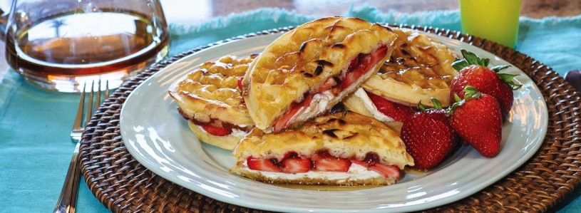 Strawberry Cream Cheese Waffle Sandwich