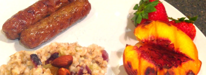 Oatmeal Peaches and Sausages