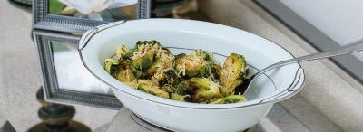 Lemon Garlic Charred Brussels Sprouts