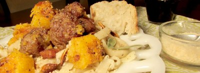 Peppered Fettuccine with Roasted Pumpkin & Italian Sausage