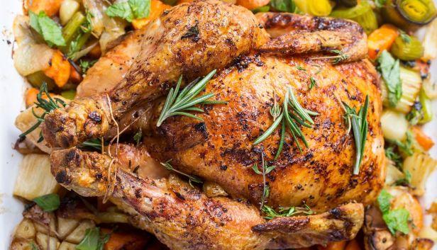 Golden Rustic Roast Chicken with Vegetables