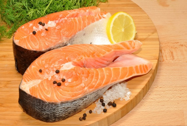 Fresh Uncooked Salmon Steaks