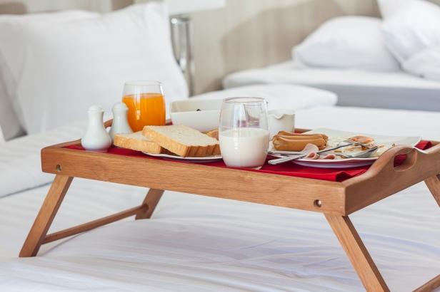 Breakfast In Tray On Bed