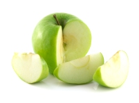 Isolated sliced green apple with three slices. Fresh diet apple. Healthy fruit with vitamins.