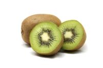 Kiwi fruit and kiwi sliced segments isolated on white background