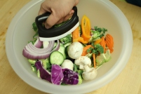 pick and add veggies to bowl