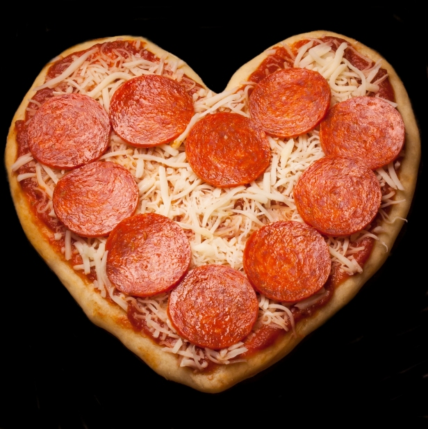 Heart shaped Pizza background for Valentine's day